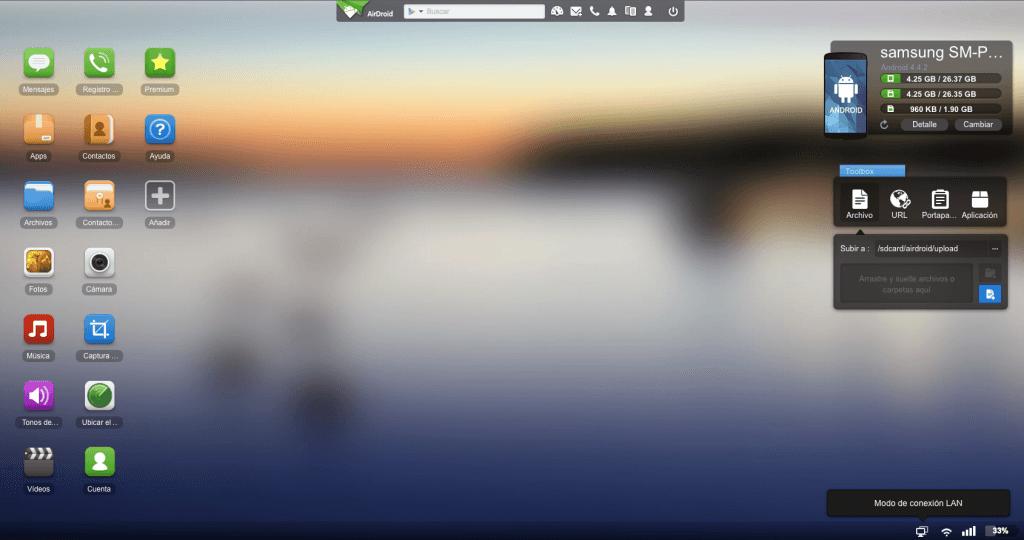 pantalla Airdroid Mac