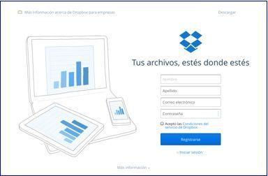 Página inicio Dropbox