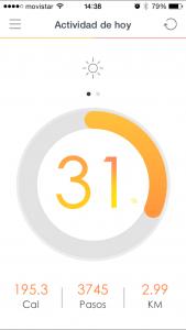 pantalla inicial app pulsera cuantificadora
