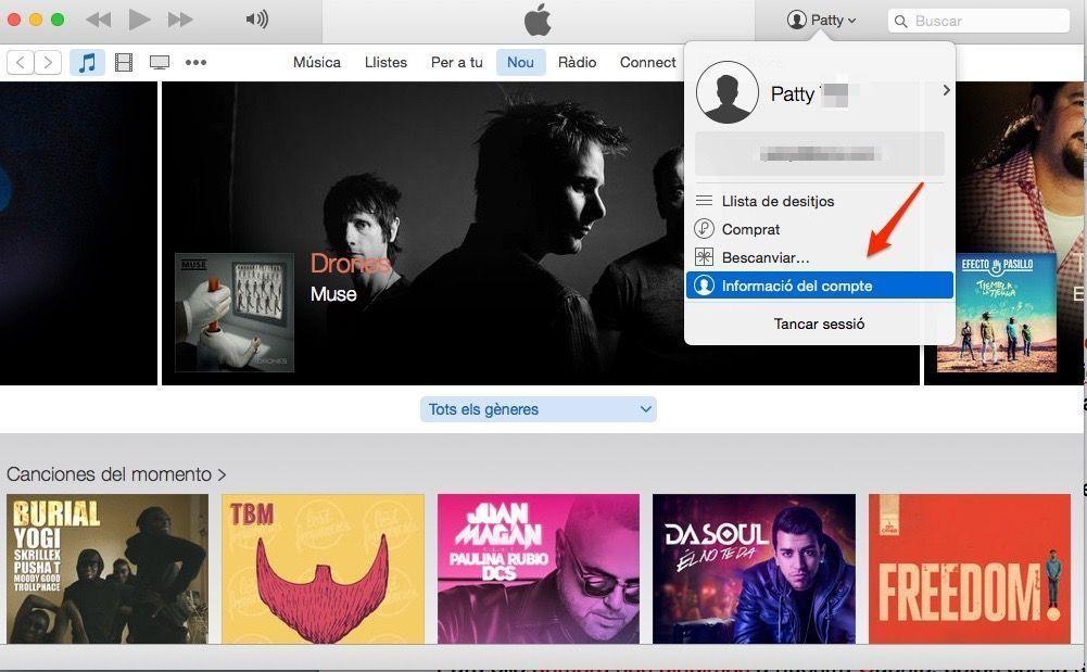 Apple music_información de cuenta