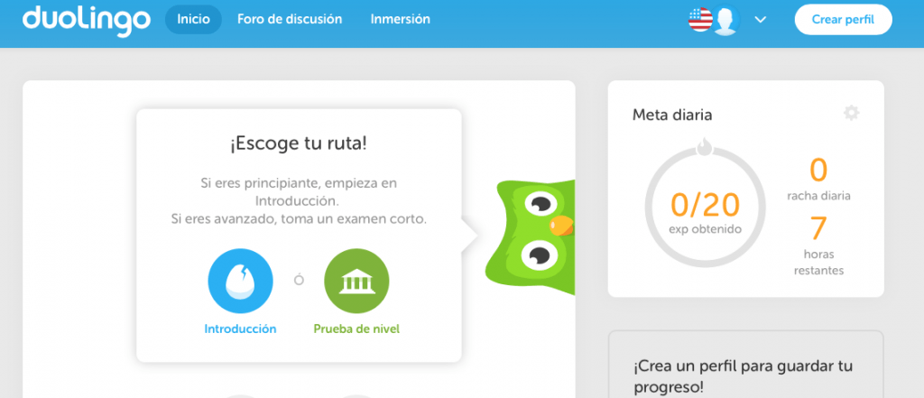 duolingo idiomas_inicio