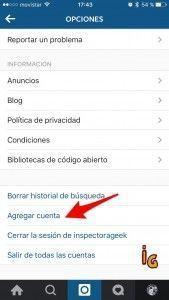Instagram actualización _agregar cuenta