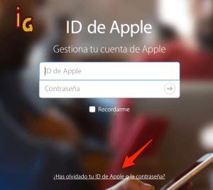 recuperar la contraseña _ muestra ID de Apple donde clicar para recuperar la contraseña