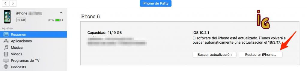 estaurar tu iphone o ipad con itunes