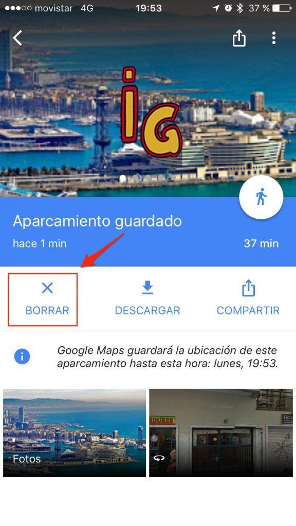 ubicación del aparcamiento de tu coche _ google maps borrar
