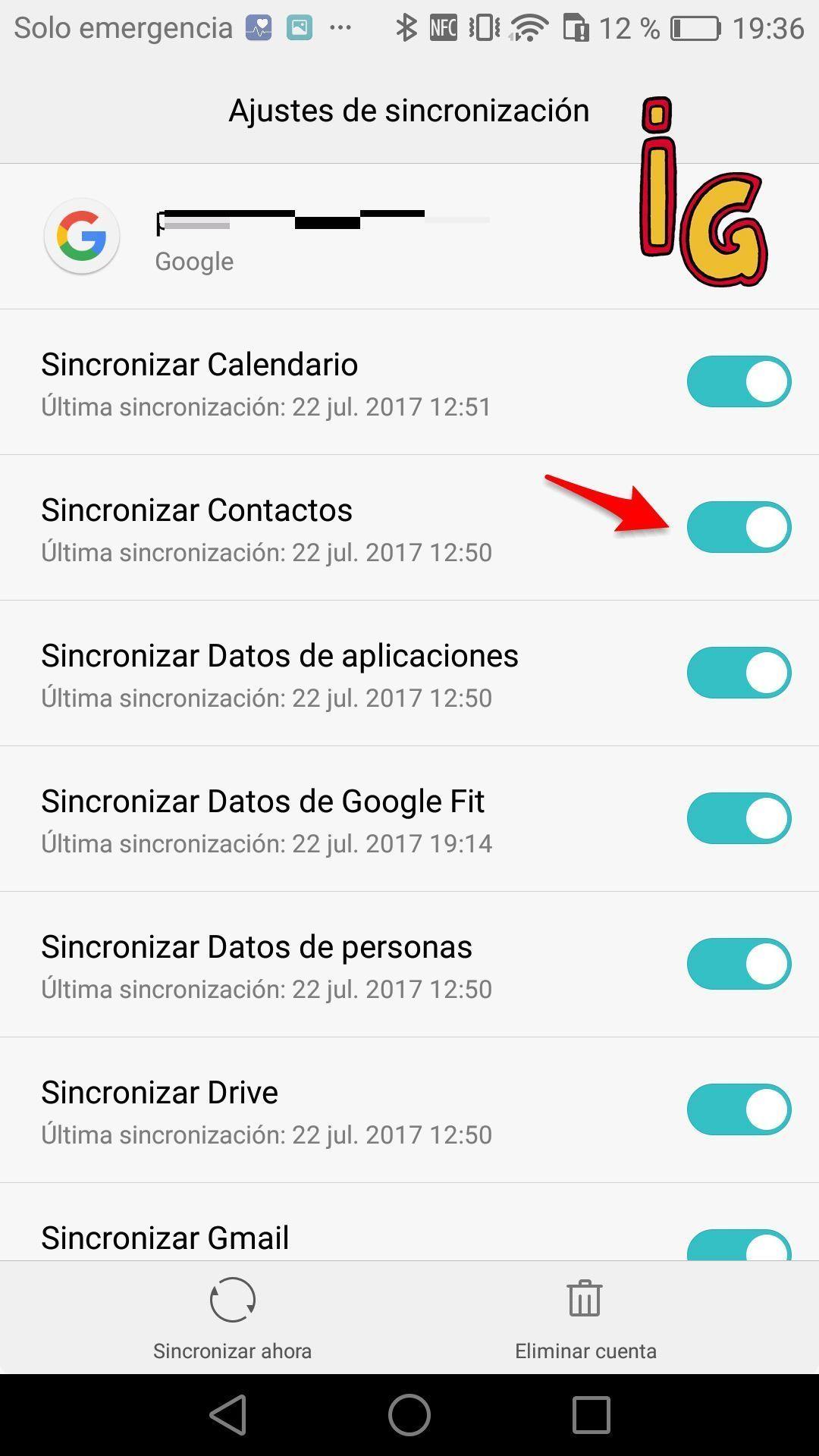 sincronizar tus contactos con Google _activar
