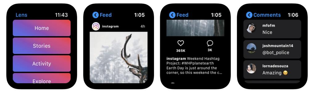 Lens app de instagram para el apple watch