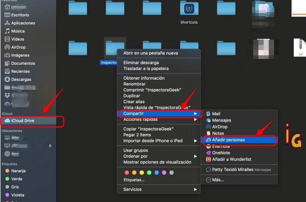 Compartir carpetas desde iCloud Drive con MacOS