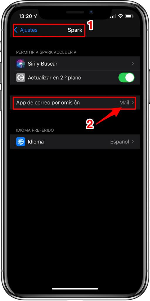Cambiar App predeterminada de correo
