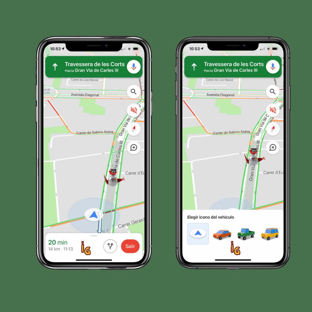 Cambia la flecha azul de Google Maps por un coche 3D