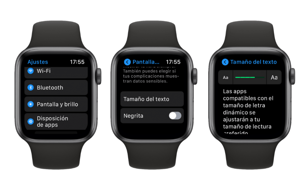 tamaño de texto apple watch