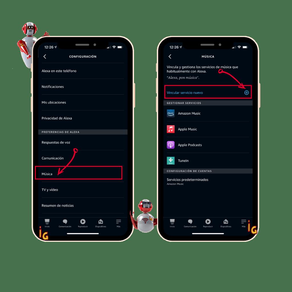 vinvular tu cuenta de Spotify o Apple Music con Alexa