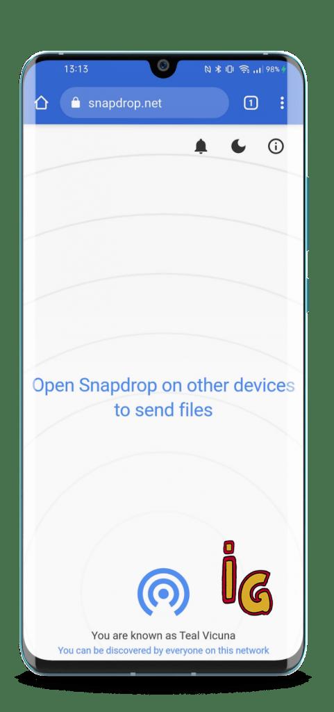 Airdrop en el PC con Snapdrop (vista movil)v2