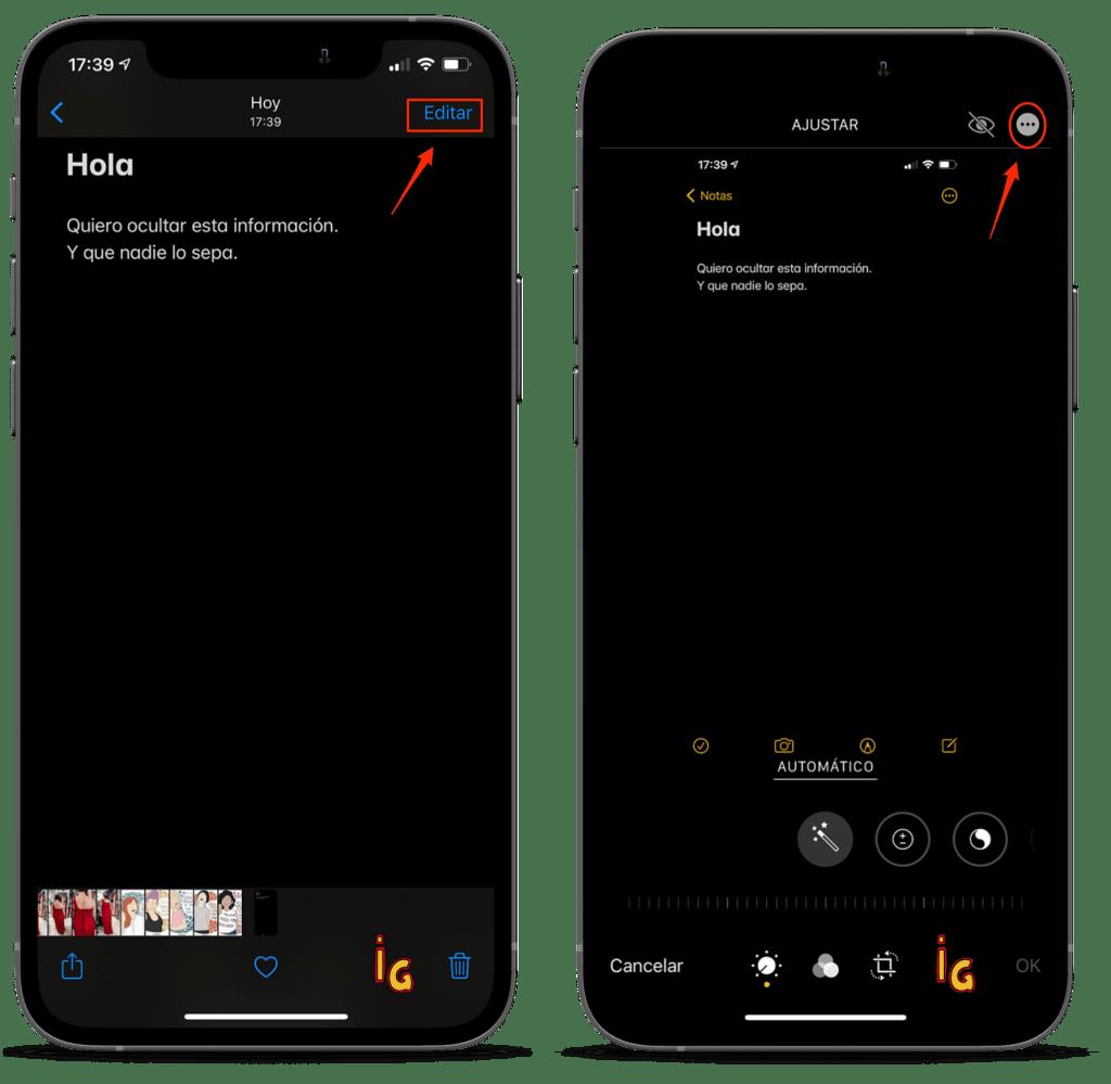 captura de pantalla pasos 1 y 2