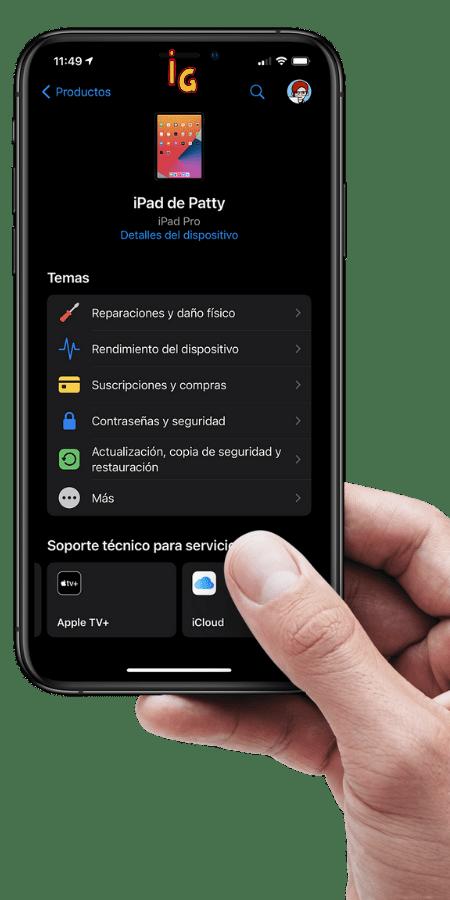 Contactar con Apple via App