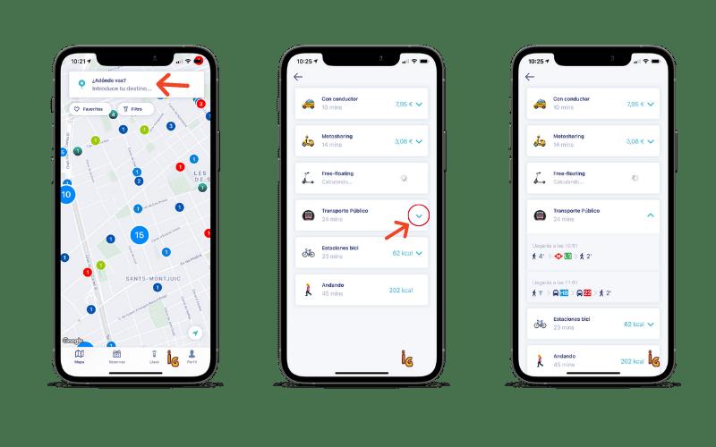 Capturas de pantalla de la App de Chipi donde se ve las propuestas en transporte público y otros servicios de transporte